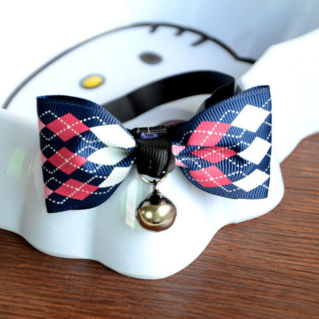 Adjustable Cute Bow Tie Collar with Bell - ensomart