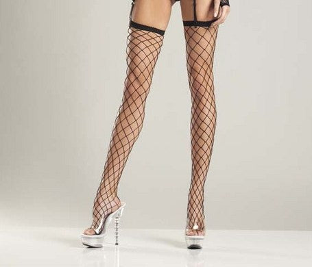 Black Industrial Fishnet Thigh Highs