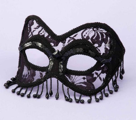 Venetian Black Lace Mask with Beads