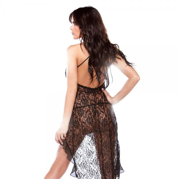 Bias Cut Halter Lace Dress - Joitoyz