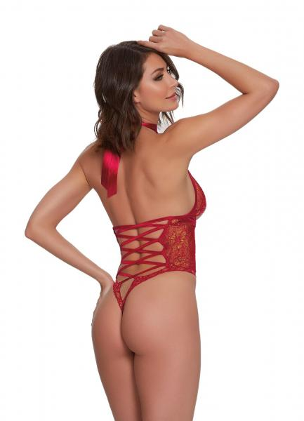 Holiday Halter Neck Lace Teddy