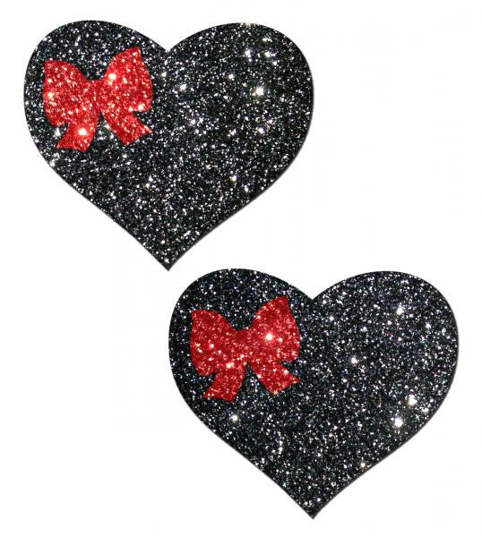 Sweety Black Glitter Heart Pastees With Red Glitter Bow
