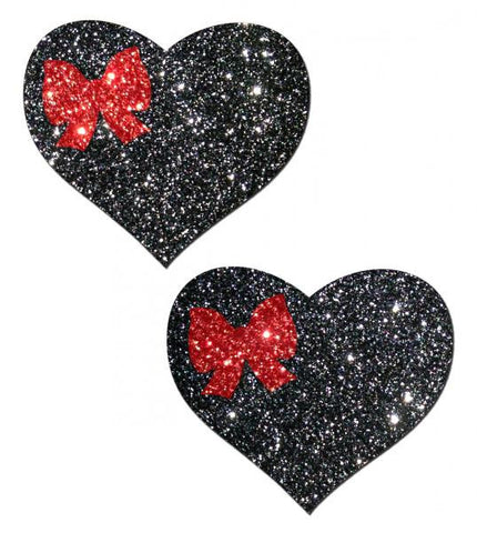 Sweety Black Glitter Heart Pastees With Red Glitter Bow - Joitoyz