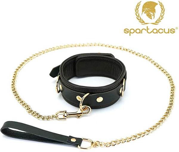 Spartacus Collar & Leash  - Brown Leather w/ accents