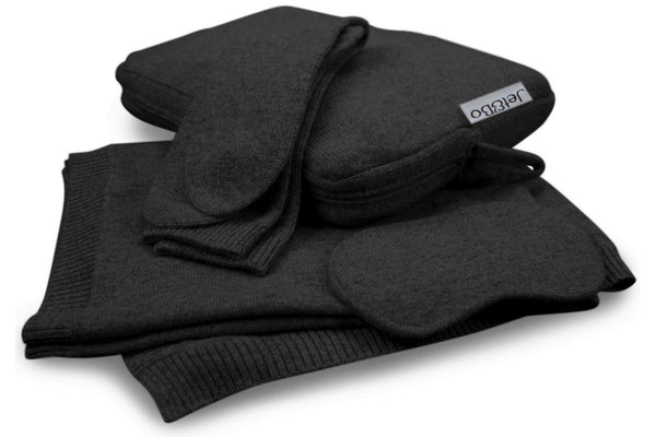 Jet&Bo 'Make Travel Luxurious Again' Black Cashmere Travel Set