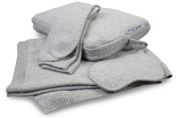 Jet&Bo 'Make Travel Luxurious Again' Gray Cashmere Travel Set