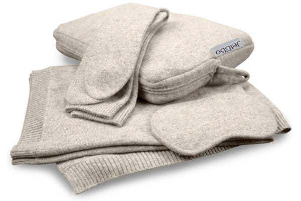 'Make Travel Luxurious Again' Cashmere Travel Set (Sand)-100% Cashmere Travel Sets-Jet&Bo