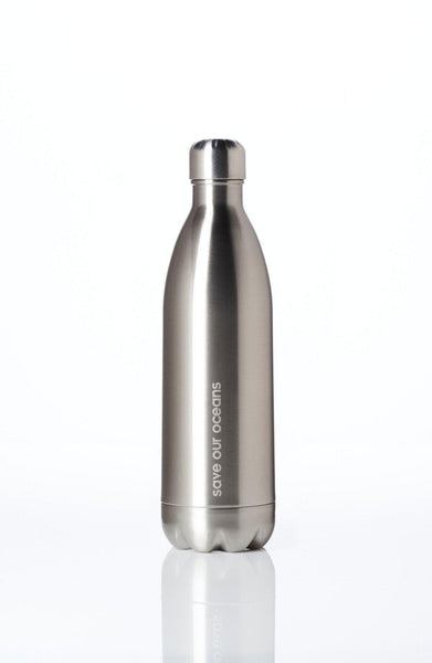 'Future' 34 oz Silver Travel Bottle and 'Leaf' Carry Cover by BBBYO-Jet&Bo