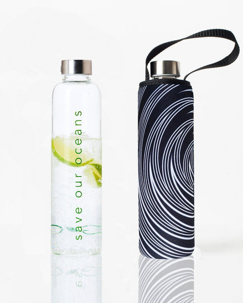 'Glass is Greener' 25 oz Travel Bottle and 'Swirl' Carry Cover by BBBYO-Jet&Bo