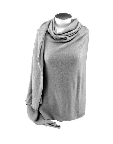 Jet&Bo 'So Soft, So Smart' Cashmere Travel Wrap & Blanket (Gray) Front