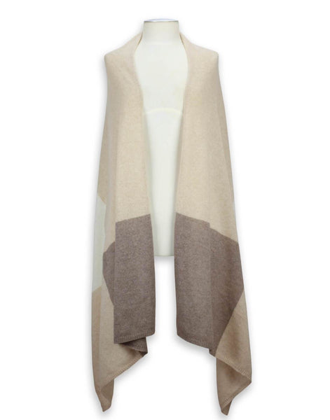 Jet&Bo 'So Soft, So Smart' Lightweight Colorblock Cashmere Travel Wrap (Beige)