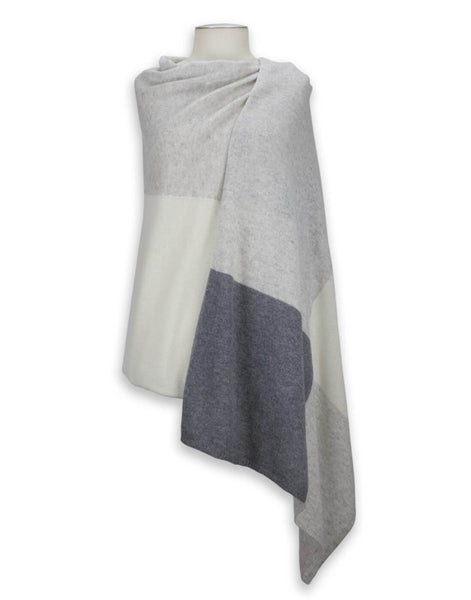 Jet&Bo 'So Soft, So Smart' Lightweight Colorblock Cashmere Travel Wrap (Gray)