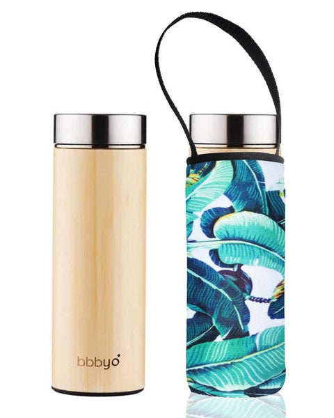 'SS + Bamboo' 17 oz Thermal Tea Flask and 'Banana Leaf' Carry Cover by BBBYO-Jet&Bo