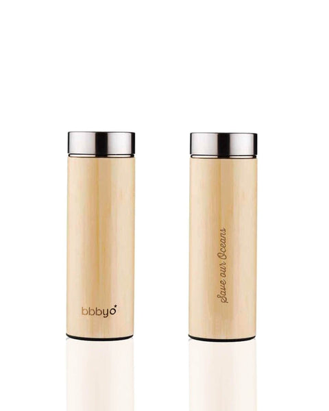'SS + Bamboo' 17 oz Thermal Tea Flask and 'Feather' Carry Cover by BBBYO-Jet&Bo