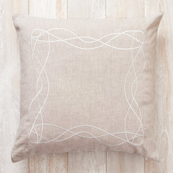 Linen Embroidered Wave Pillow Cover