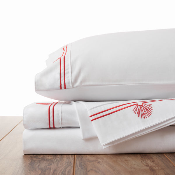 Fan Shell Embroidered Sheet Set
