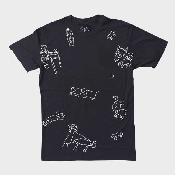 SIA ALL OVER TATOO PRINT BLACK TEE