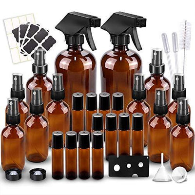 Glass Spray Bottles Kits, Empty 12 10 ml Roller Bottles, 12 Amber Essential Oil Bottle (2 x 16oz,2 x 4oz,8 x 2oz) with Labels for Aromatherapy Cleaning Products