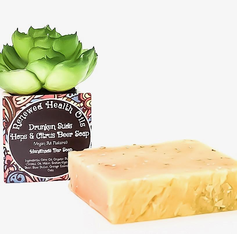 Drunken Suds- Hops & Citrus Beer Handmade Soap With Essential Oils - Renewed Health Oils