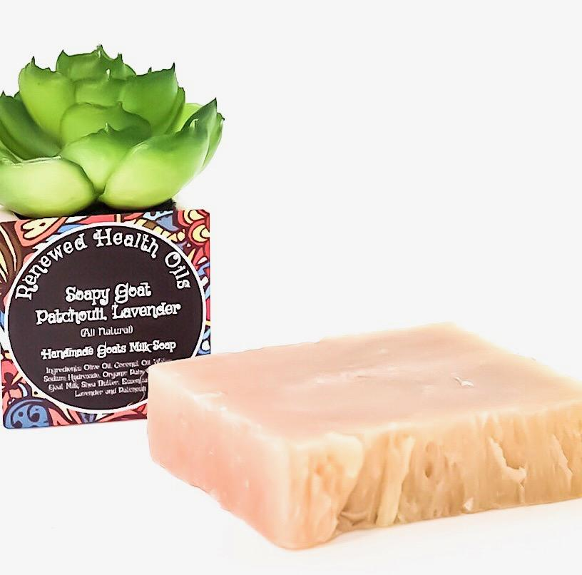 Soapy Goat- Patchouli, Lavender Goats Milk Soap - Renewed Health Oils