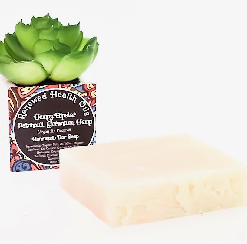 Hempy Hipster- Patchouli, Geranium, Hemp Handmade Bar Soap With Essential Oils - Renewed Health Oils