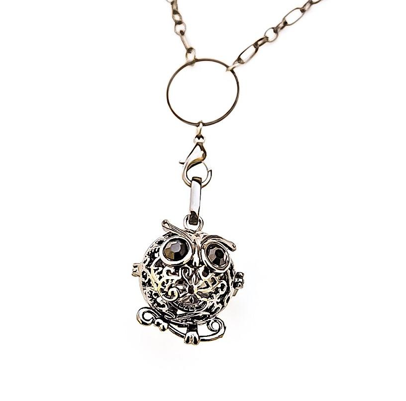 Owl Locket Necklace for Essential Oil Aromatherapy Diffuser - Renewed Health Oils