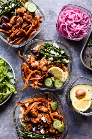 meal prep: chicken shawarma and sweet potato fry bowls.