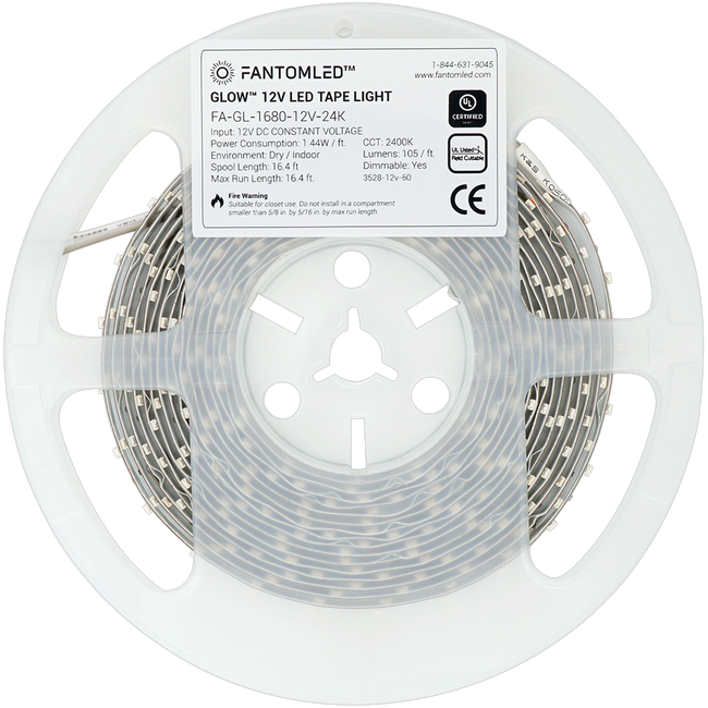 LED strip in a plastic spool with a product detail sticker on it.