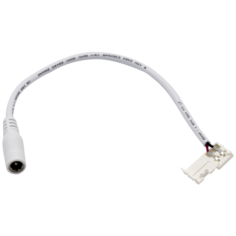 "CLICKLOCK™ Female DC Plug with 8mm Splice Connector, 6"" - 5 Pack"