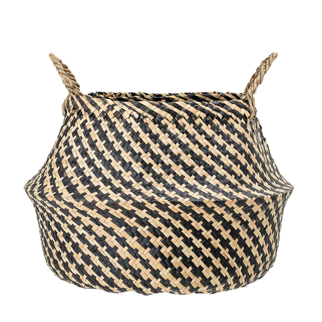 Black & Beige Woven Seagrass Basket with Handles