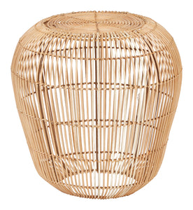 "18.5""H Handwoven Rattan Accent Table with Metal Frame"