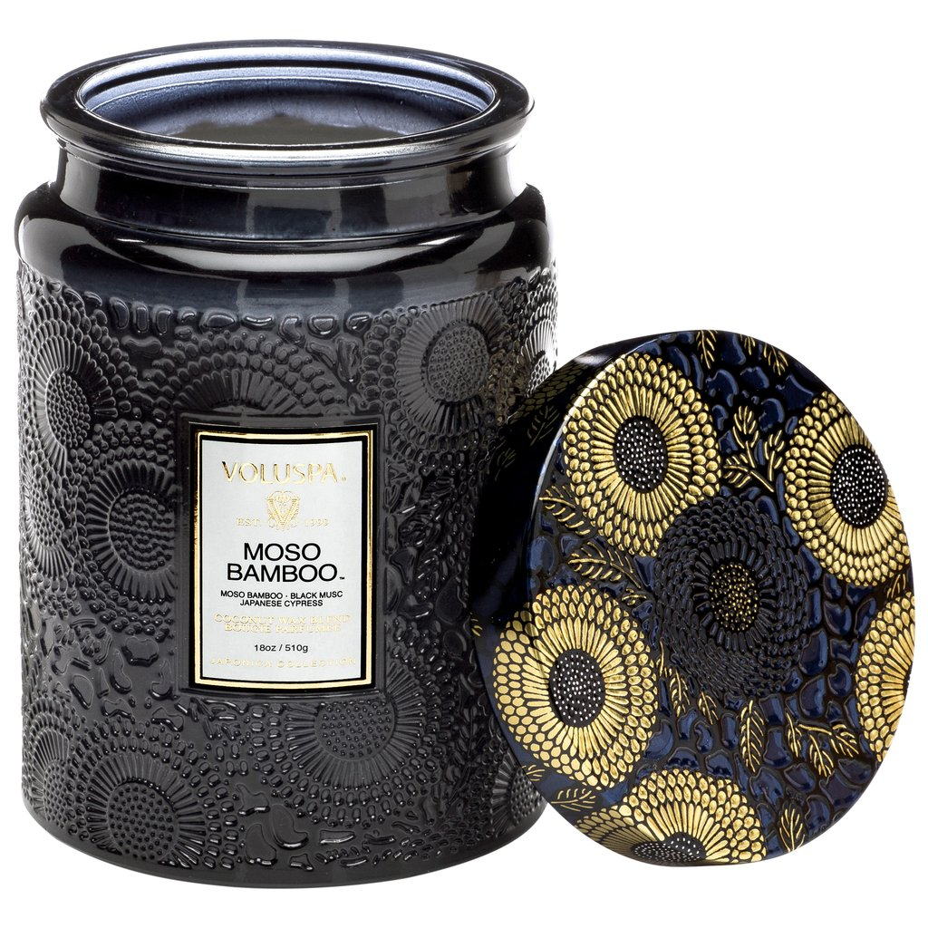 Moso Bamboo Large Glass Candle