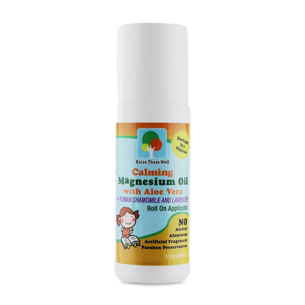 Kid Safe Calming Magnesium Oil with Roman Chamomile and Lavender Essential Oils.