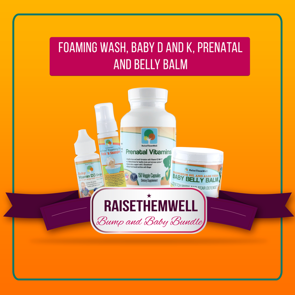 Bump and Baby Bundle: Prenatal Vitamin, Baby Belly Balm, Foaming Baby Wash and Shampoo and Vitamin D and K
