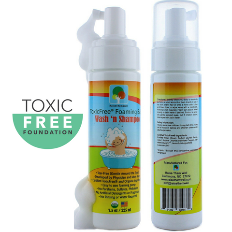 Certified ToxicFree® Foaming Baby Wash N' Shampoo. Guaranteed to Be 100% Free of any Chemicals, Toxins, or Hormone Disruptors.