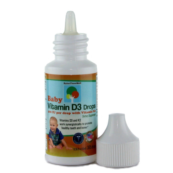 Baby Vitamin D3 and K2 Drops for Ultimate Bone and Teeth Health.