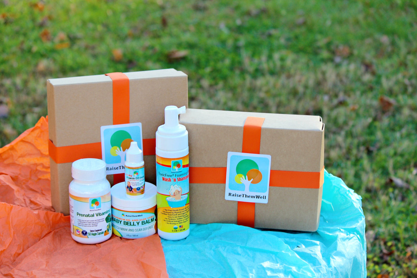 Baby Shower Gift Box: Belly Balm, Vitamin D, Baby Wash, Prenatal