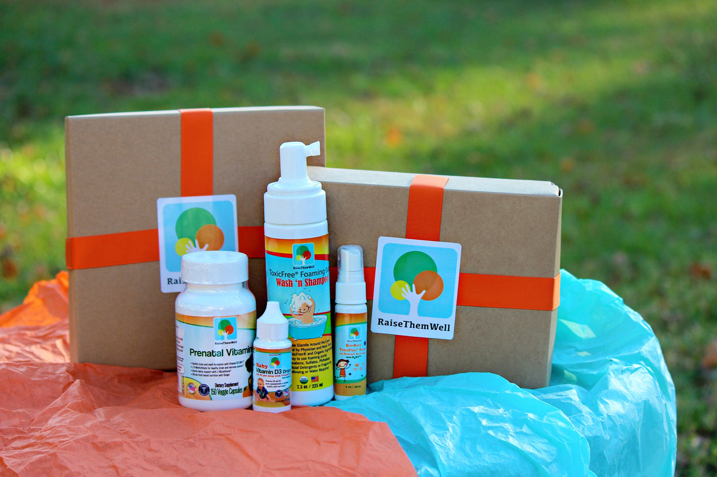 New Baby Gift Box:  Prenatal Vitamin, Vitamin D3 and K2 Drops, Hand and Surface Sanitizer and Foaming Baby Wash 'N Shampoo