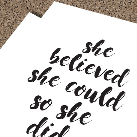 She Believed She Could So She Did | Digital Poster Download