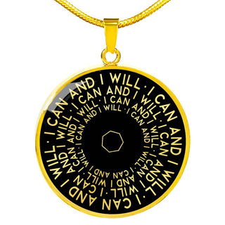I Can And I Will | Mantragon Necklace [Silver + Gold] Black Edition