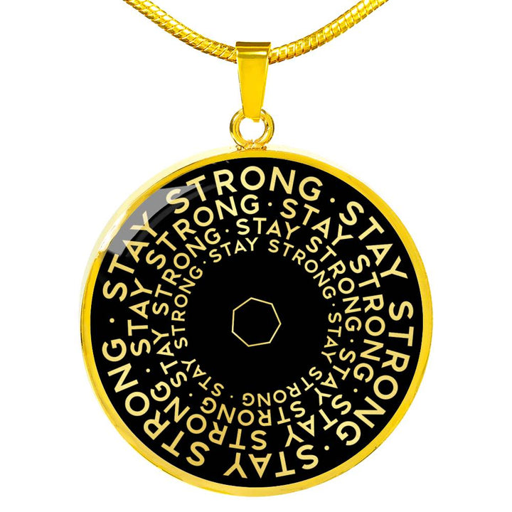 Stay Strong | Mantragon Necklace [Silver + Gold] Black Edition