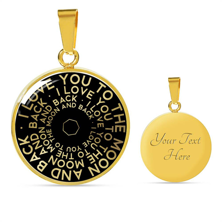 I Love You To The Moon And Back | Mantragon Necklace [Silver + Gold] Black Edition