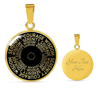 Serenity Courage Wisdom | Mantragon Necklace [Silver + Gold] Black Edition