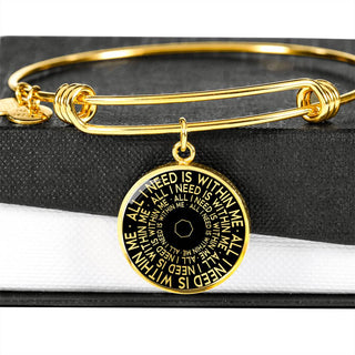 All I Need Is Within Me | Mantragon Bangle [Silver + Gold] Black Edition