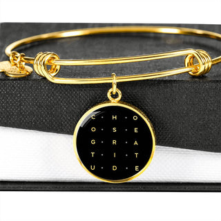 Choose Gratitude | Luxury Circle Bangle [Silver + Gold]