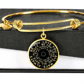 Be You Love You All Ways Always | Mantragon Bangle [Silver + Gold] Black Edition