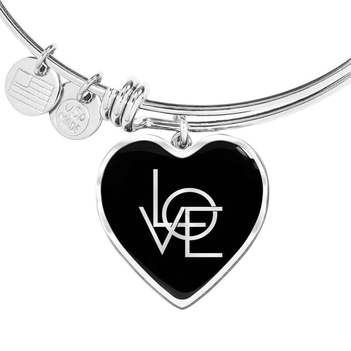 Love | Luxury Heart Bangle [Silver + Gold]
