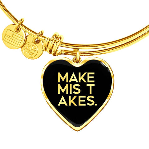 Make Mistakes | Luxury Heart Bangle [Silver + Gold]