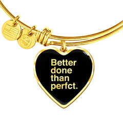 Better Done Than Perfect | Luxury Heart Bangle [Silver + Gold]