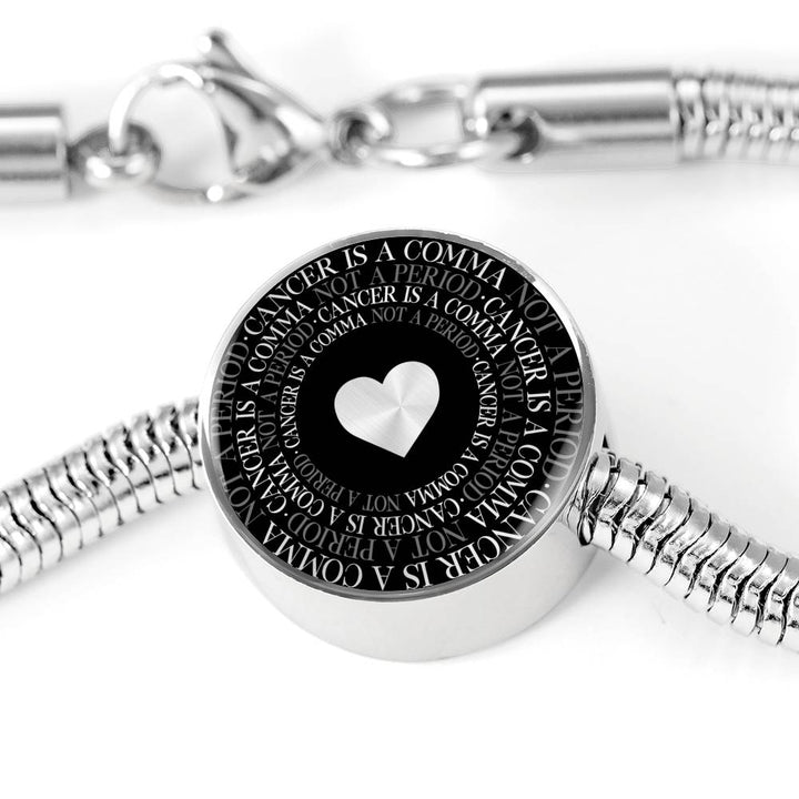 Cancer Is A Comma... | Luxury Circle Charm Bracelet